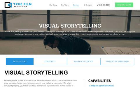 Screenshot of Services Page truefilmproduction.com - Visual Storytelling / Digital Storytelling Company - New York, NY - captured Feb. 19, 2020