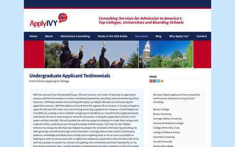 Screenshot of Testimonials Page applyivy.com - Testimonials | Apply Ivy - captured Oct. 4, 2014