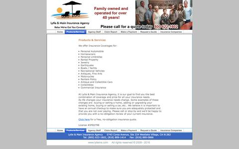 Screenshot of Products Page lytleins.com - Lytle Insurance Agency - captured Nov. 15, 2016
