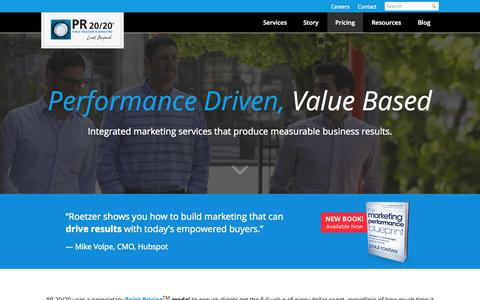 Screenshot of Pricing Page pr2020.com - Inbound Marketing Plans & Pricing | PR 20/20 - captured Oct. 28, 2014