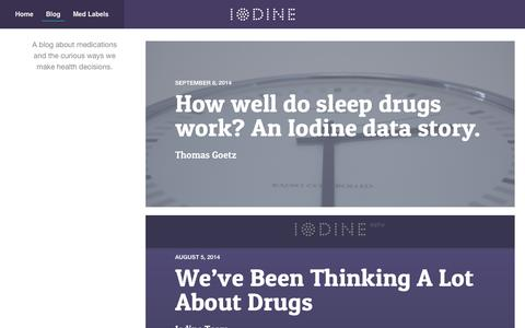 Screenshot of Blog iodine.com - Iodine Blog | A blog about medications and the curious ways we make health decisions. - captured Sept. 16, 2014