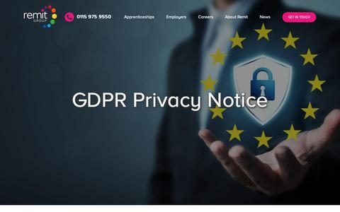 Screenshot of Privacy Page remit.co.uk - GDPR Privacy Notice – Remit Group - captured Oct. 20, 2018