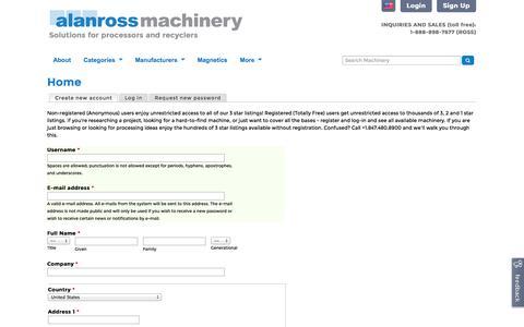 Screenshot of Signup Page alanross.biz - Home | Alan Ross Machinery - captured Nov. 2, 2014