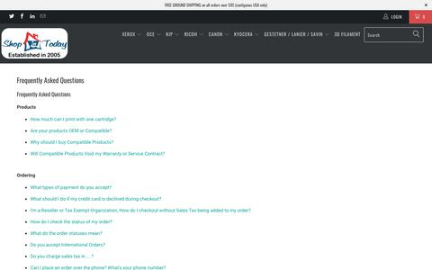 Screenshot of FAQ Page shopintoday.com - Frequently Asked Questions - Shop In Today LLC - captured Sept. 25, 2018