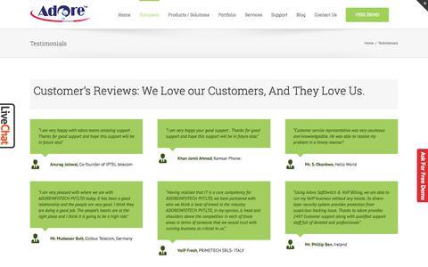 Screenshot of Testimonials Page adoreinfotech.com - Testimonial- Adore InfoTech - captured June 22, 2017
