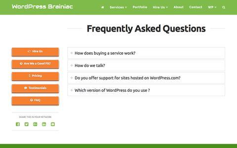 Screenshot of FAQ Page wpbrainiac.com - FAQ - WordPress Brainiac - captured Sept. 20, 2018