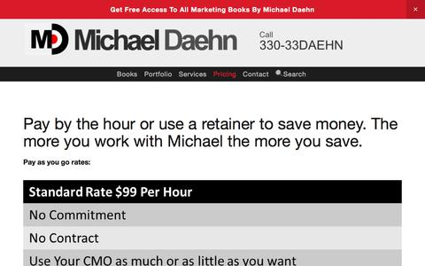 Screenshot of Pricing Page michaeldaehn.com - Hourly Consulting — Michael Daehn | The Marketing Guy - captured Sept. 20, 2018