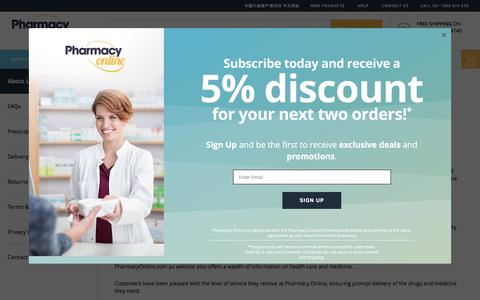 Screenshot of About Page pharmacyonline.com.au - About Us - captured July 17, 2018