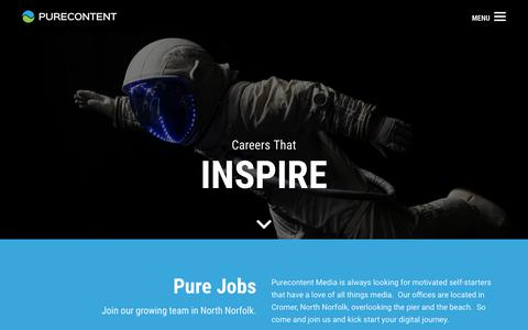 Screenshot of Jobs Page purecontent.com - Join The Team | Purecontent - captured July 14, 2018