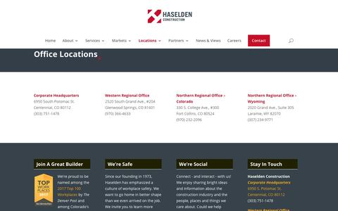 Screenshot of Locations Page haselden.com - Locations - Haselden Construction - captured Sept. 27, 2018