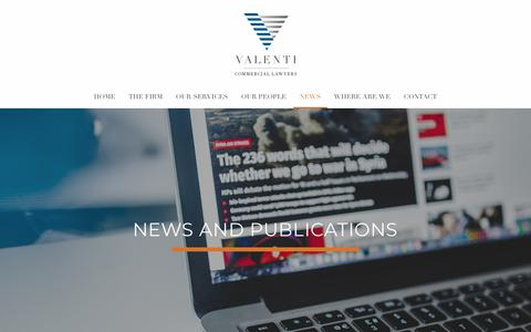 Screenshot of Press Page valentilawyers.com.au - News and Information | Valenti Commercial Lawyers - captured Oct. 20, 2018