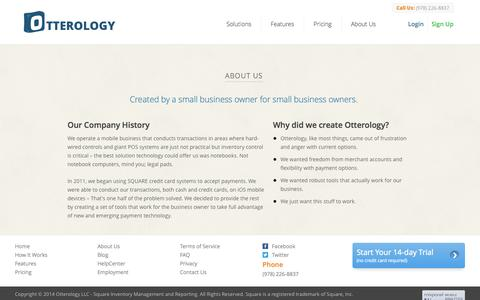 Screenshot of About Page otterology.com - About Us :: Otterology Inventory Management - captured Sept. 17, 2014