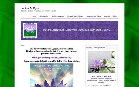 Screenshot of Home Page wholisticspiritualcounseling.com - Louisa A. Dyer | Wholistic Spiritual Counseling and Intuitive Services - captured Jan. 28, 2015