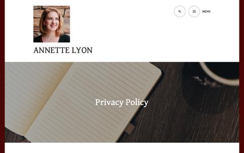 Screenshot of Privacy Page wordpress.com - Privacy Policy – Annette Lyon - captured June 28, 2018