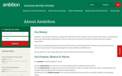 Screenshot of About Page ambition.com.sg - About Ambition - Global Recruitment Specialist - Ambition Singapore - captured Nov. 25, 2016