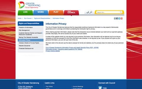 Screenshot of Privacy Page greaterdandenong.com - Information Privacy - City of Greater Dandenong - captured Sept. 23, 2014