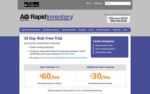 Screenshot of Pricing Page rapidinventory.com - QuickBooks Inventory Software Pricing | AO: Rapid Inventory - captured July 5, 2017