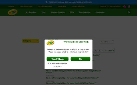 Screenshot of FAQ Page crayola.com - FAQ | crayola.com - captured Feb. 16, 2016