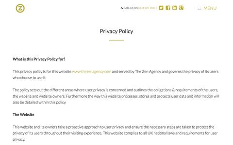 Screenshot of Privacy Page thezenagency.com - Privacy Policy | The Zen Agency - captured Aug. 16, 2016