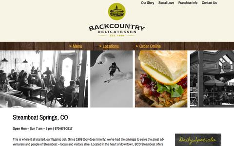Screenshot of Locations Page backcountry-deli.com - Steamboat Springs, CO - Backcountry Delicatessen - captured Oct. 5, 2014