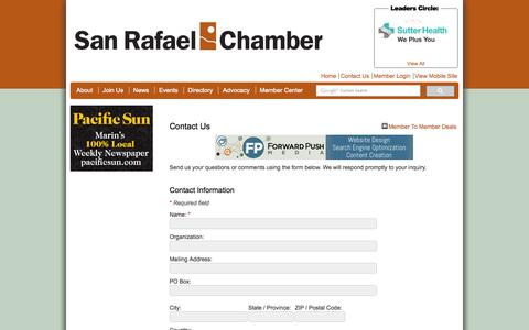 Screenshot of Contact Page srchamber.com - Contact Us - San Rafael Chamber of Commerce - captured Oct. 4, 2014