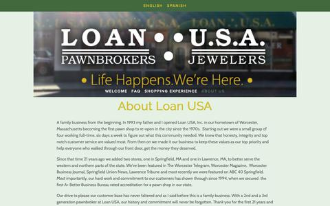 Screenshot of About Page loanusa.com - About Loan USA | Massachusetts | Pawn Broker | Cash for Gold - captured Sept. 29, 2018