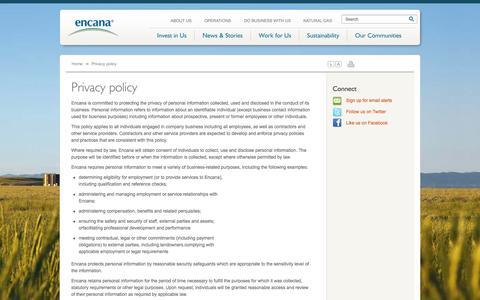 Screenshot of Privacy Page encana.com - Privacy Policy | Encana Corporation - captured Oct. 30, 2014
