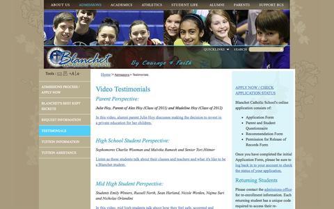 Screenshot of Testimonials Page blanchetcatholicschool.com - Blanchet Catholic School: Testimonials - captured Sept. 30, 2014
