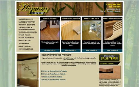 Screenshot of Products Page higuerahardwoods.com - Bamboo Products | Bamboo Flooring Products | HigueraHardwoods.com - captured March 16, 2016