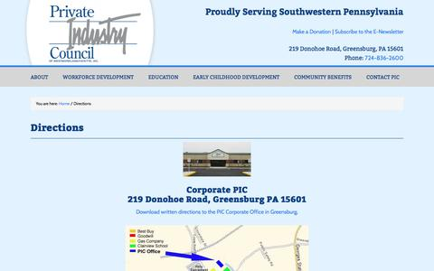 Screenshot of Maps & Directions Page privateindustrycouncil.com - Directions | Private Industry Council of Westmoreland/Fayette, Inc. - captured Oct. 23, 2017