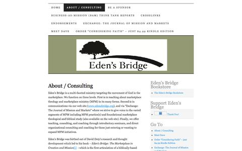 Screenshot of About Page edensbridge.org - About / Consulting | Eden's Bridge - captured Sept. 29, 2014