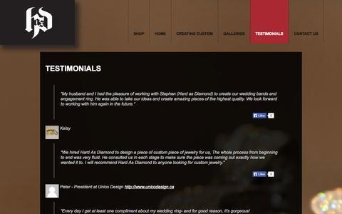 Screenshot of Testimonials Page hardasdiamond.com - Hard As Diamond - Vancouver - TestimonialsHardAsDiamond - captured Oct. 2, 2014