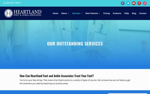 Screenshot of Services Page heartlandfootandankle.com - Our Outstanding Services | Heartland Foot & Ankle - captured Dec. 14, 2018