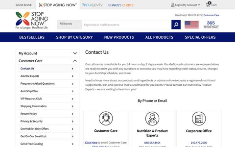Screenshot of Support Page stopagingnow.com - Contact Stop Aging Now - captured Oct. 11, 2018