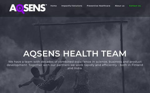 Screenshot of Contact Page aqsens.com - Contact Us - Aqsens Health - captured Dec. 7, 2018