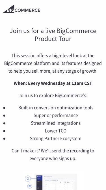 BigCommerce Weekly Product Tour Registration Page