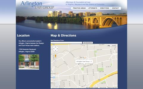 Screenshot of Maps & Directions Page arlingtonlawgroup.com - Arlington Law Group | Directions to the Firm - captured Oct. 6, 2014