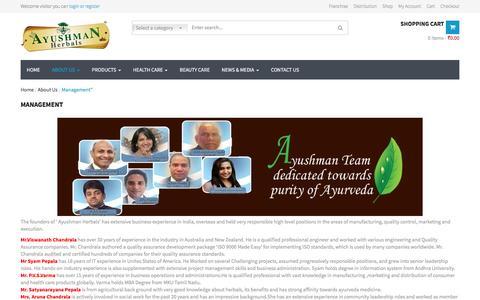 Screenshot of Team Page ayushmanherbals.com - Management   Ayushman Herbals - captured July 27, 2016