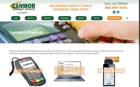Screenshot of Products Page canmor.com - Products – Canmor - captured July 14, 2017