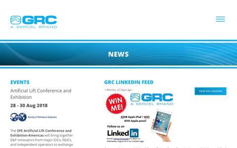 Screenshot of Press Page sercel-grc.com - News - GRC : GRC - captured Oct. 20, 2018
