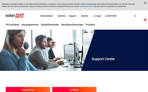 Screenshot of Support Page solaredge.com - Support-Center | SolarEdge | Ein weltweit führendes Unternehmen im Bereich intelligenter Energieerzeugung - captured July 15, 2019