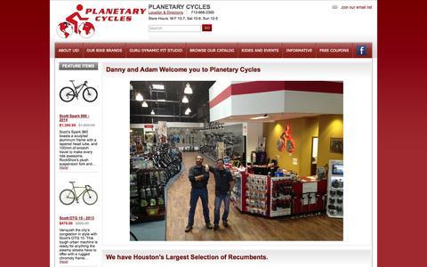 Screenshot of Home Page planetarycycles.com - Planetary Cycles, Houston TX Giant, Cannondale, Catrike, Terratrike, Bacchetta, Sun Recumbents, Electra - captured Jan. 26, 2015