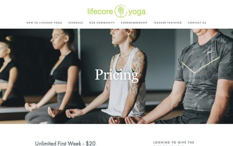 Screenshot of Pricing Page lifecoreyoga.com - Pricing — LifeCore Yoga - captured July 19, 2018