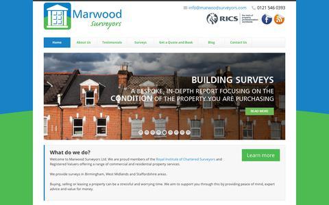 Screenshot of Home Page marwoodsurveyors.com - Home - Property Surveys and Valuations from Marwood Surveyors Ltd. - captured Nov. 6, 2018