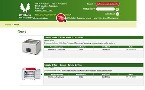 Screenshot of Press Page wolflabs.co.uk - Laboratory equipment product news - captured Feb. 15, 2016