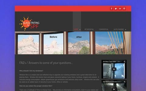 Screenshot of FAQ Page spftint.com - FAQ's about Window Film and Window Tinting - captured Oct. 2, 2014