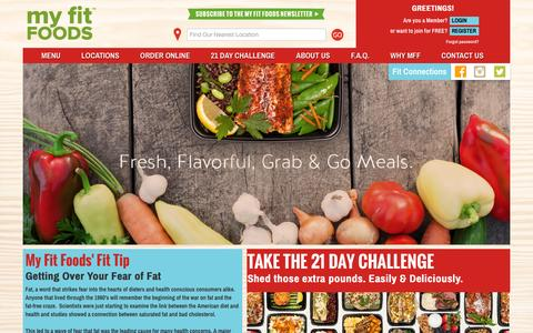 Screenshot of Home Page myfitfoods.com - My Fit Foods | Gluten Free, Bold Flavors, All Natural & On the Go - captured Oct. 23, 2015