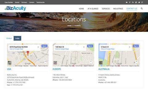 Screenshot of Locations Page bizacuity.com - Bizacuity |   Locations - captured Nov. 3, 2014