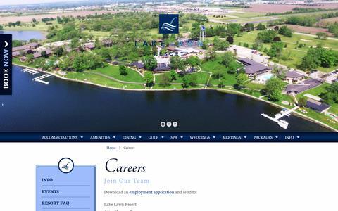 Screenshot of Jobs Page lakelawnresort.com - Careers - Lake Lawn Resort - captured July 10, 2016