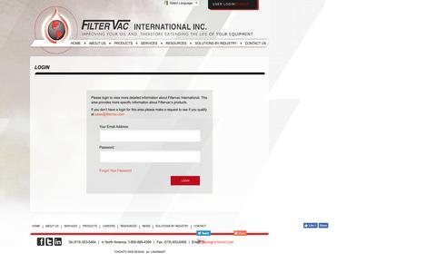 Screenshot of Login Page filtervac.com - Filtervac International Login Area - captured Nov. 25, 2016